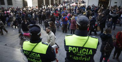 Police in central Madrid over the Christmas period.
