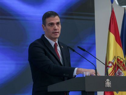 Pedro Sánchez during today's presentation.