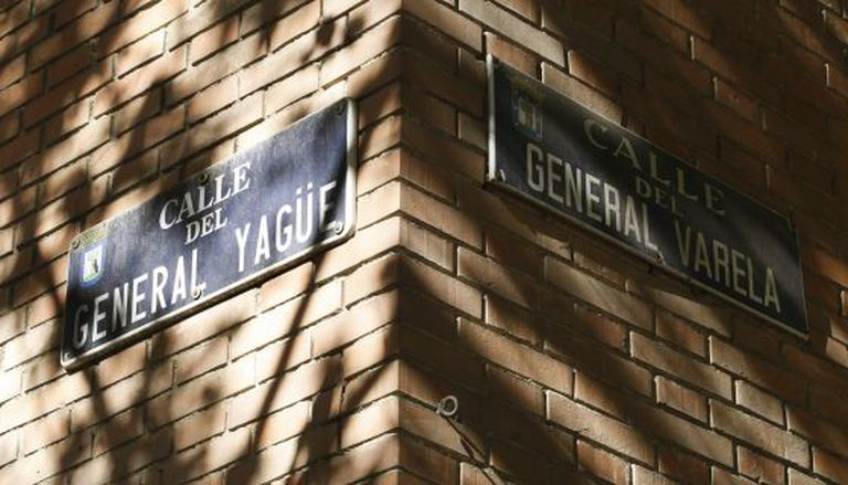 The corner of General Yagüe and General Varela streets, both named after Francoist officers, near Plaza Cuzco in Madrid.