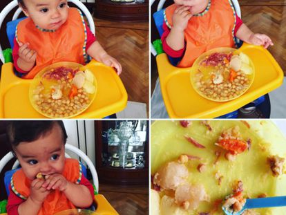 Mateo gets stuck in to his chick-pea stew.