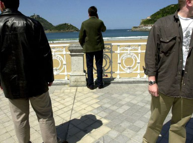 Bodyguards protecting their client in the northern city of San Sebastián.