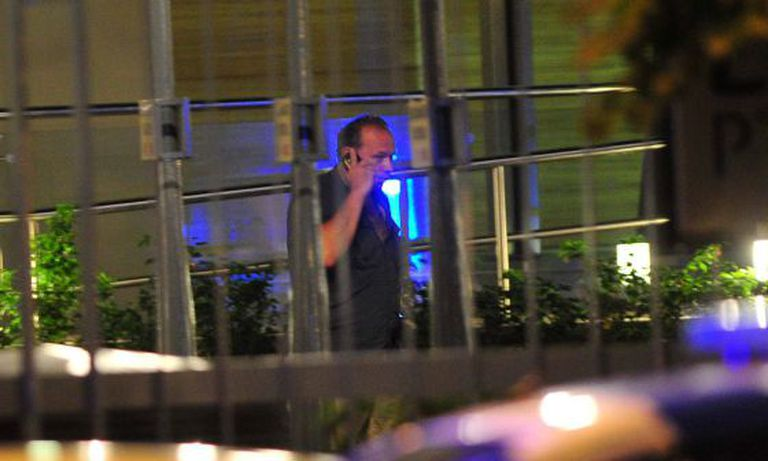 Argentinean security secretary Sergio Berni outside Alberto Nisman's home on Sunday.