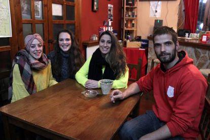 Yoli, Julia, Lidia and Gonzalo live in Peralejos.