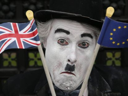 An anti-Brexit protestor outside the British parliament in London.