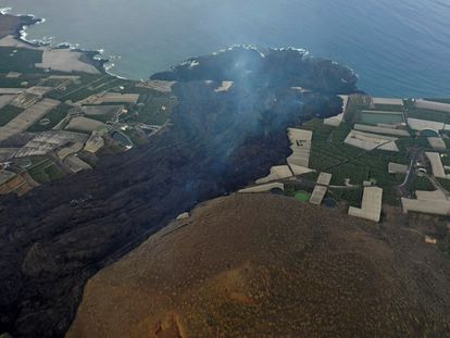 Lava flow from La Palma eruption entering the Atlantic Ocean.