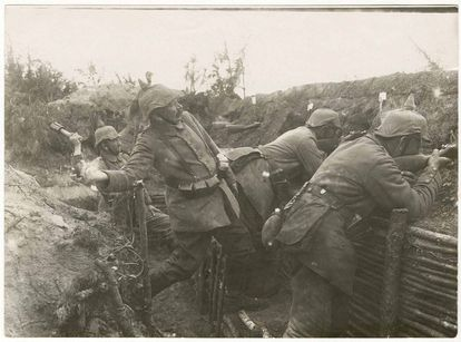 A grenade is thrown into a trench in 1915.