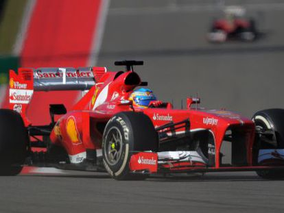 Fernando Alonso at the wheel of his Ferrari during this weekend's United States Grand Prix.