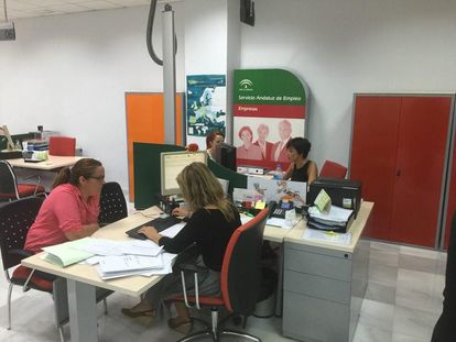An employment agency in Andalusia in late May.