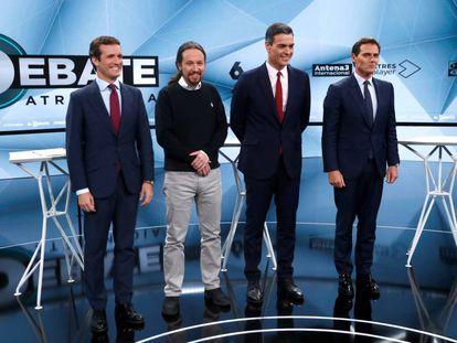 (l-r) Pablo Casado, Pablo Iglesias, Pedro Sanchez and Albert Rivera.