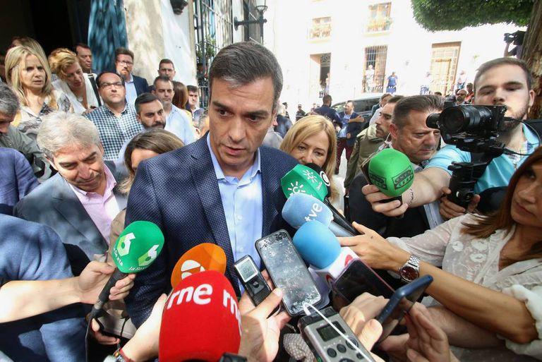 The acting prime minister of Spain, Pedro Sánchez, in Níjar (Almería).