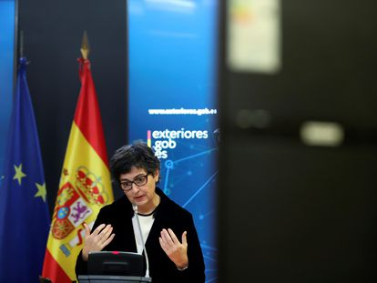 Spain's Foreign Minister Arancha González Laya speaking on Monday.