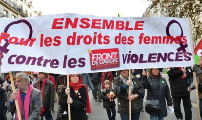 A demonstration against gender violence in Paris in 2016.