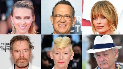 Clockwise from top left: Scarlett Johansson, Tom Hanks, Margot Robbie, Bill Murray, Tilda Swinton and Bryan Cranston, all of whom will appear in Wes Anderson's latest movie.