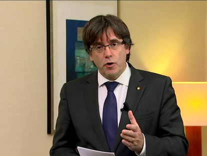 A screen grab of Carles Puigdemont's speech on TV3.