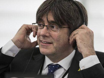 Carles Puigdemont in the European Parliament earlier this week.