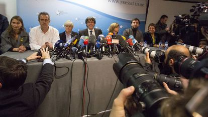 Former Catalan premier Carles Puigdemont and ministers in Brussels on Tuesday.