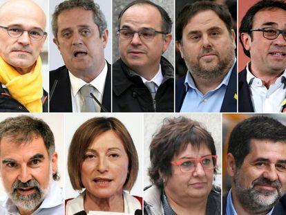Clockwise from top left: Raül Romeva, Joaquim Forn, Jordi Turull, Oriol Junqueras, Josep Rull, Jordi Sànchez, Dolors Bassa, Carme Forcadell, Jordi Cuixart.