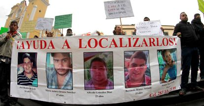 Family members of the five missing youths hold a protest in Veracruz.