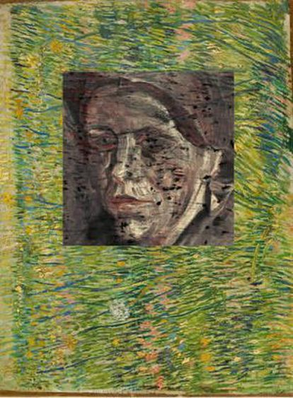 Portrait of a peasant woman behind Van Gogh's Patch of Grass.
