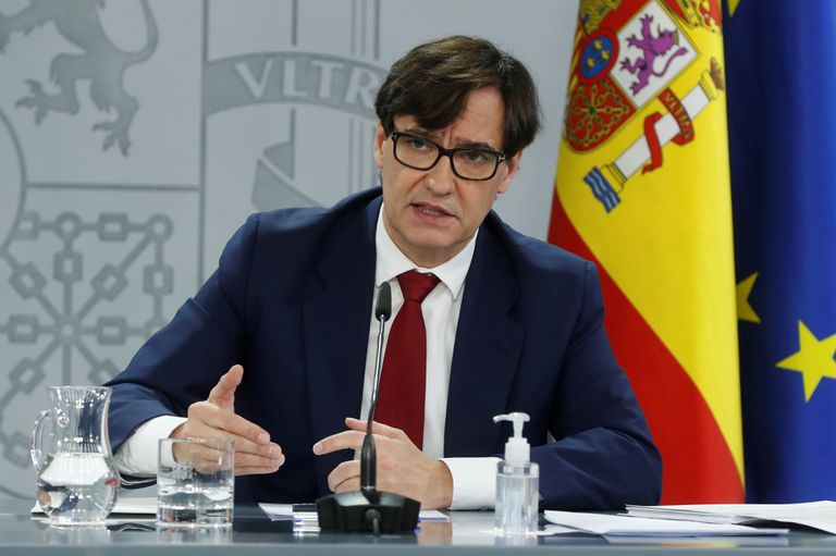 Health Minister Salvador Illa at a press conference on Friday.