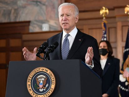 US President Joe Biden during a press conference.