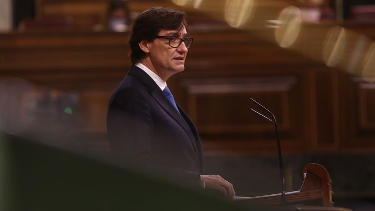 Spanish Health Minister Salvador Illa in Congress on Thursday,