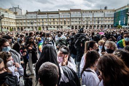 Protest in A Coruña in memory of Samuel Luiz.