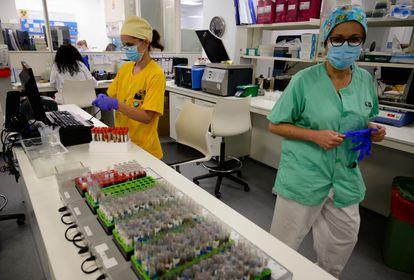 Microbiologists in Madrid's Gregorio Marañón hospital process samples ready for PCR coronavirus testing.