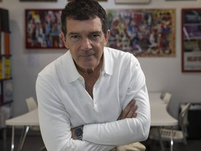 Antonio Banderas in the offices of Almodóvar's El Deseo production company.