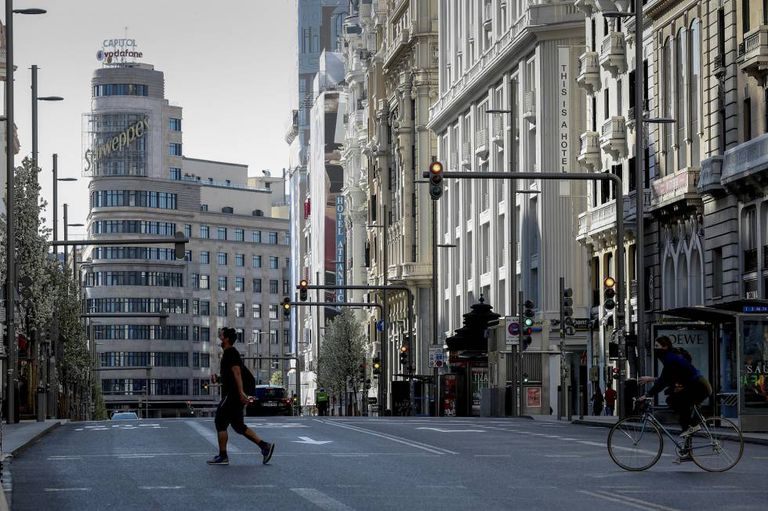 An empty Madrid on Saturday, due to the restrictions introduced to combat the spread of the coronavrius.