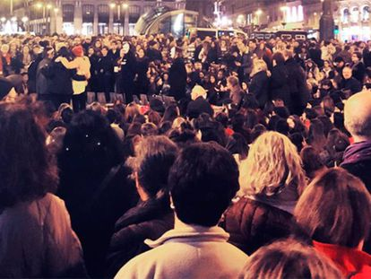Protesters chanted against gender violence in Madrid on Wednesday.
