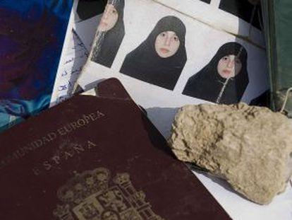 Raquel Burgos's passport and various photographs of the Spaniard found in Waziristan in 2009.