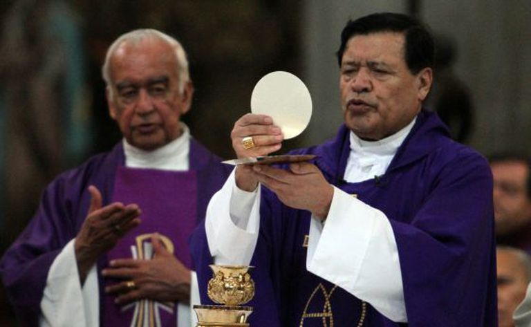 Cardinal Norberto Rivera celebrates Mass at Mexico City's cathedral.