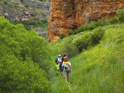 Trekkers in Caracena gorge, in Soria province.