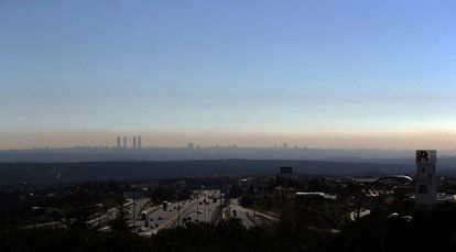Pollution haze over Madrid, in March 2017.
