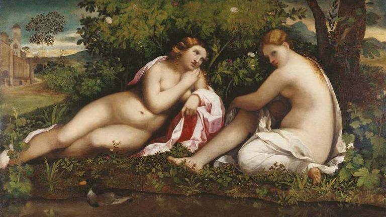 Palma Vecchio's 'Two nymphs in a landscape', at the Thyssen.
