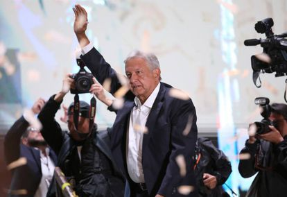 Andrés Manuel López Obrador addressing supporters in Mexico City on Sunday.