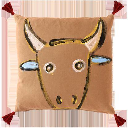 One of the cushions featuring a bullfighting theme designed by Luke Edward Hall.