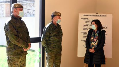 Spanish Defense Minister Margarita Robles at the military base of El Goloso.