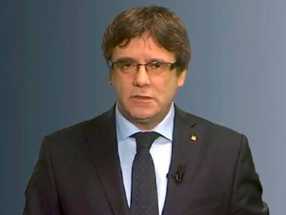 Carles Puigdemont, delivering his message last Tuesday.