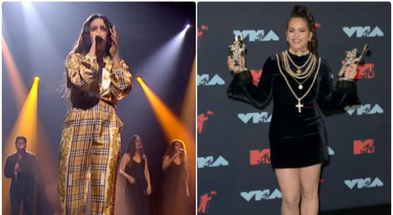 Rosalía performing on the BBC (l) and with her MTV Music Video Awards.