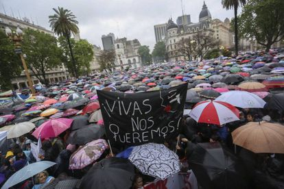 A recent protest in Buenos Aires against the murder of women.