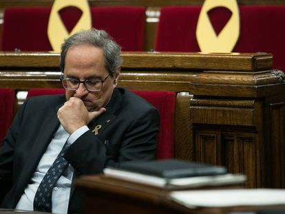 Quim Torra inside the Catalan parliament on Tuesday.