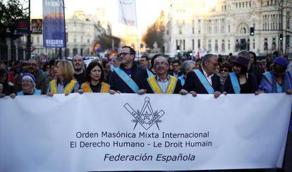 Spanish masons march on International Women's Day.