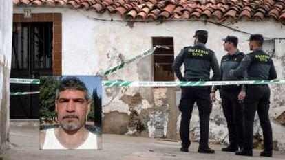 The house where Bernardo Montoya (inset) allegedly attacked Laura Luelmo.