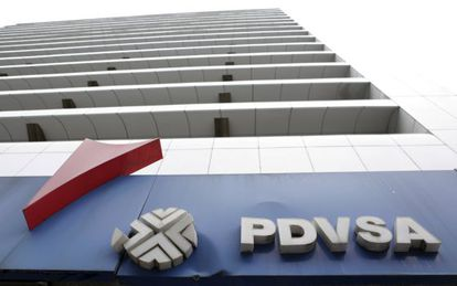 The logo of the state-owned oil company PDVSA at a gasoline station in Caracas.