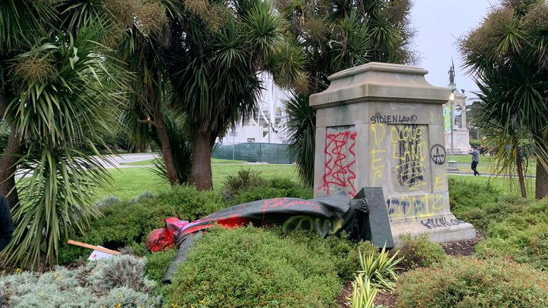 A statue to Saint Junipero Serra was vandalized in San Francisco.