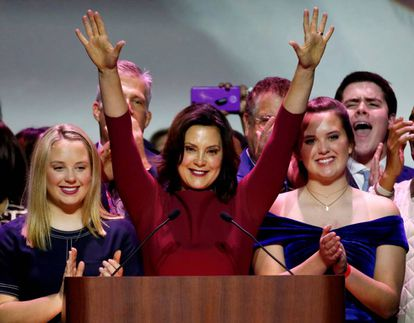 Democratic gubernatorial candidate Gretchen Whitmer celebrates her midterm election victory.
