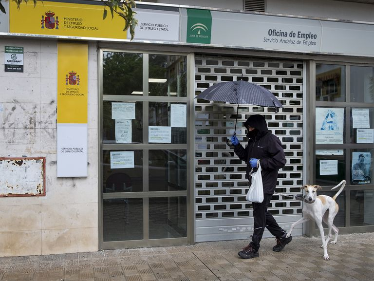 A closed unemployment office in Seville.