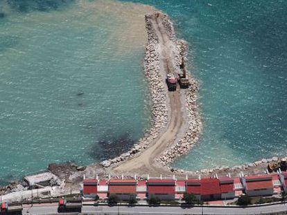 Landfill work underway on the Gibraltar coast.